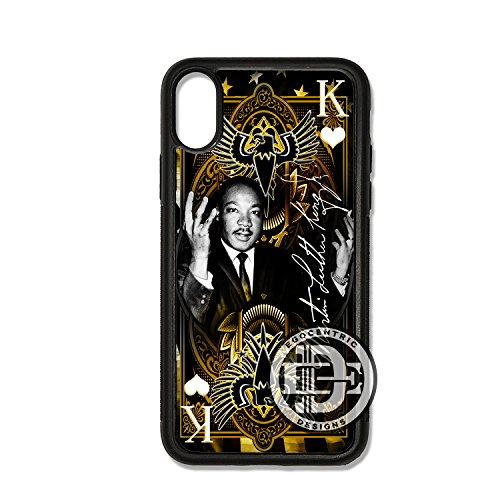 (iPhone Xs MAX) EGOCENTRIC DESIGN & CO. Martin Luther King Jr. MLK Black History Kings Playing Card Design Art TPU Rubber Silicone Phone Case