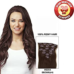 "Clip in Hair Extensions by BELLAHAIR Full Head Human Hair Clip in Extensions(7pcs 100g 18"" Medium Brown)"