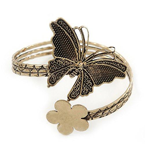 Antique Butterfly Bracelet - Vintage Inspired Hammered Butterfly & Flower Upper Arm, Armlet Bracelet In Antique Gold Tone - Adjustable