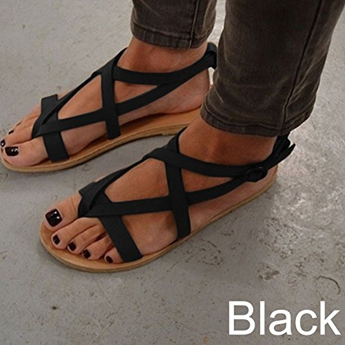 DEARWEN Womens Casual Ankle Strap Flat Sandals Summer Beach Shoes Black pPJk2