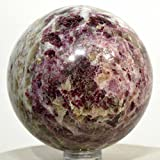 59mm Pink Red Tourmaline in Matrix Sphere w/ Smoky Quartz Natural Crystal Ball Polished Feldspar Mineral Gemstone - South Africa + Plastic Stand