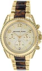 Michael Kors Blair Gold Dial Tortoise SS Quartz Chrono Ladies Watch MK6094