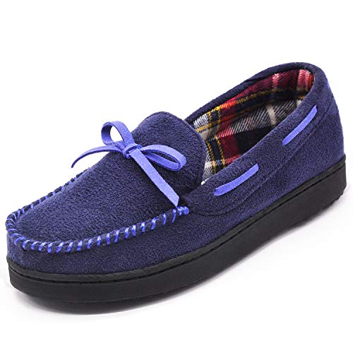 RockDove Women's Memory Foam Anti Slip Moccasin Slippers w/Plaid Lining (11 B(M) US, Dark Blue)