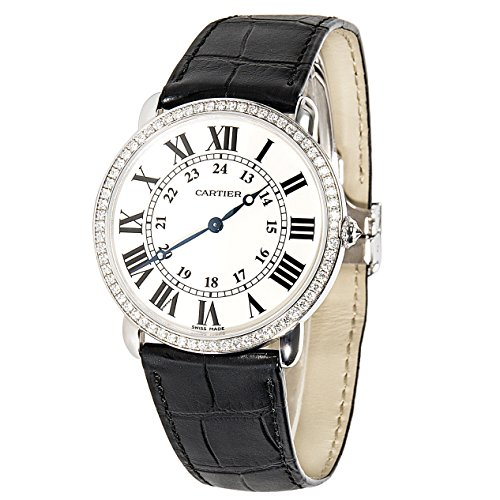 Cartier Ronde Louis WR0005 Unworn Unisex Watch in 18K White Gold & Diamond (Certified Pre-owned)
