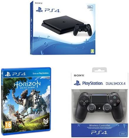 PlayStation 4 Slim (PS4) - Consola de 500 GB + Horizon Zero Dawn - Edición Normal + Sony - DualShock 4 Negro V2 (PS4): Amazon.es: Videojuegos