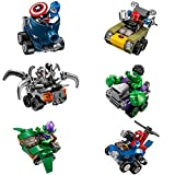 Aurookeb 07036 Marvel Superheroes Minifigures with War Chariot Blocks Toys Pack of 6