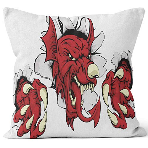 (Nine City Welsh Red Dragon Smashing Out Throw Pillow Cushion Cover,HD Printing Decorative Square Accent Pillow Case,24