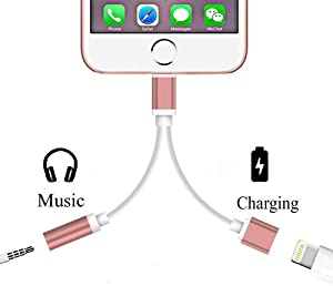 iPhone 7/7 Plus Lightning Adapter, Seotic 2 in 1 Lightning Adapter and Charger, 2-Port Lightning to 3.5mm Aux Headphone Jack and Charger Cable Adapter for iPhone 7/7 Plus Adapter (Rose Gold)