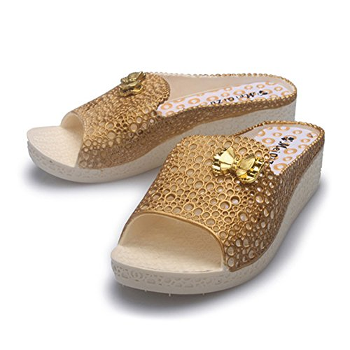 Angelliu Womens Hollow Beach Barthroom Slippers Platform Shoes With Bow Yellow MMUFGzG