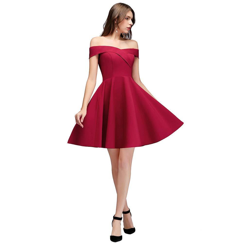 Ladies Evening Dress Women's Fashion Simple OneShoulder Evening Dress Winter Short Wedding Dress (Size   US18)