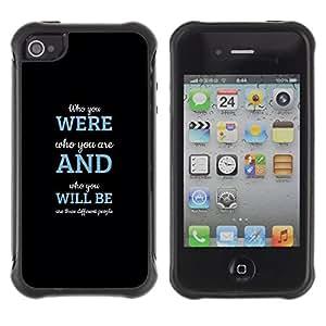 LASTONE PHONE CASE / Suave Silicona Caso Carcasa de Caucho Funda para Apple Iphone 4 / 4S / Will Be Message Inspiring Blue Black