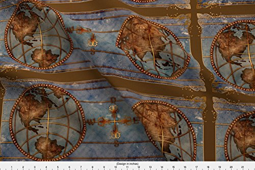 Map Fabric - World Map 2 by jadegordon - Map Fabric with Spoonflower - Printed on Cotton Poplin Fabric by the (Map Fabric Chart)