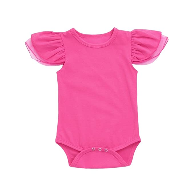 f3cd1c8dbe03 Newborn Infant Toddler Baby Girls Romper Jumpsuit Cuekondy Solid Mesh Fly  Sleeves Playsuit Summer Outfit Clothes