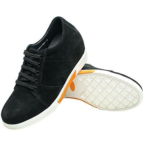 Chamaripa Heren Sport Casual Schoenen Sneakers 2.95 Inches Hoogte Toenemende Inlegzolen Ak70m83-1 Zwart
