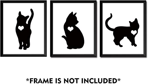 Amazon Com Gronda Cute Black Cat Silhouette Print Unframed Wall Art Poster Simple Artwork Home Decor Pictures For Bathroom Living Room Bedroom Hallway 8x10 Inch 3 Panels Posters Prints