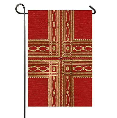 - HOOSUNFlagrbfa Bright Red Leather Book Cover with Gold Inlay Fringed Design Double Sided Polyester Garden Flag 12 x 18 Inch for Outdoor Home Garden Decor