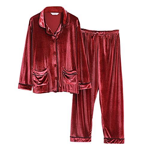 A Donna Maniche Pigiama Color Mmllse Pigiami Biancheria Pigiama Lunghe Sfiancata Da Set Unita Dorate Photo Homewear Vesti Notte Tinta Da Da SF1xqantx4