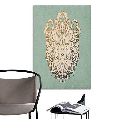 Jaydevn Wall Mural Wallpaper Stickers Surreal Illustration of a Fortune Teller with Three Heads and Floral Baroque Art Reseda Green Cream Boys Kids Bedroom W20 x H28