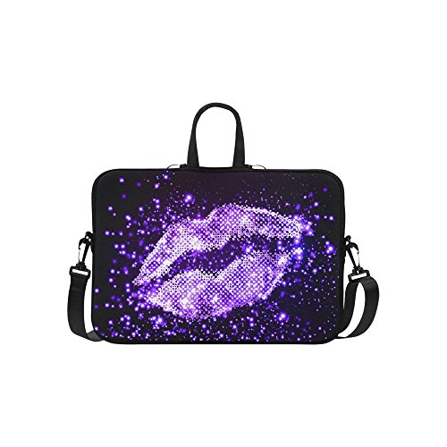 InterestPrint Classic Personalized Bling Glitter Purple Lip Love 15.4'' - 15.6'' /Macbook Pro 15 Inch Laptop Sleeve Case Bags Skin Cover for Lenovo, GW, Acer, Asus, Dell, Hp, Sony, Toshiba by InterestPrint