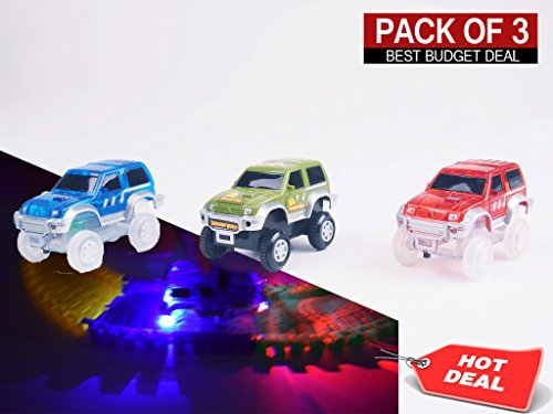 Light Up Replacement Track Race Car Toy | Racing Jeeps (3-Pack) with 3 LED Lights | For Independant and Track Play | Track Accessories Compatible with Most Tracks for Boys and Girls