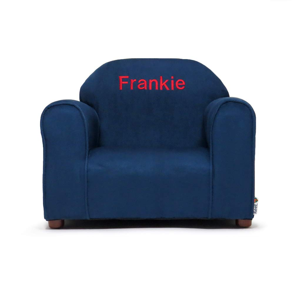 Swell Upholstered Personalized Kids Chair Microfiber Suede Navy Creativecarmelina Interior Chair Design Creativecarmelinacom