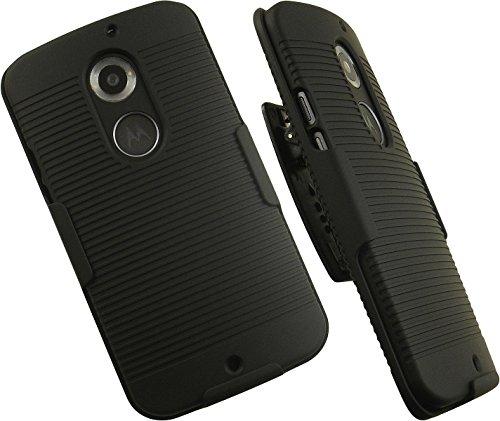 NAKEDCELLPHONE'S Black Hard CASE + Belt Clip Holster w/Stand for Motorola Moto-X 2nd GEN 2014 (AT&T, Verizon, US Cellular, Unlocked) (Us Moto Motorola For Cellular X)