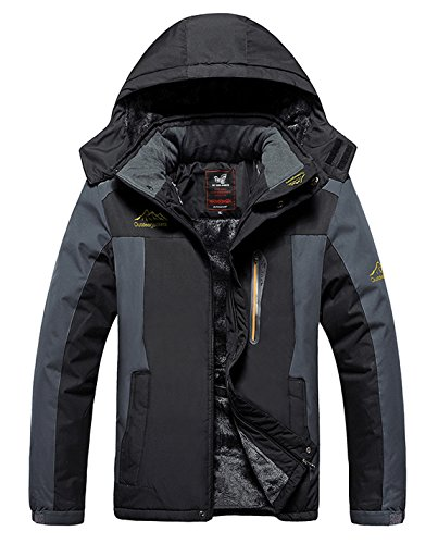 HOW'ON Men's Mountain Waterproof Fleece Ski Jacket Windproof Rain Jacket Black - Mens Coat Winter Ski