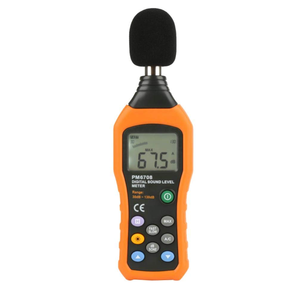 Akozon Digital Audio Decibel Meter PEAKMETER PM6708 LCD Sound Noise Level Meter Tester Measuring 30-130dB Sound Monitor dB Meter Noise Measurement A/C Mode