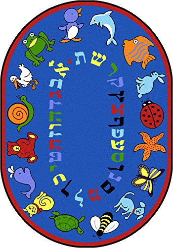 Joy Carpets Kid Essentials Early Childhood Oval Hebrew Alphabet ABC Animals Rug, Blue, 7'8'' x 10'9'' by Joy Carpets