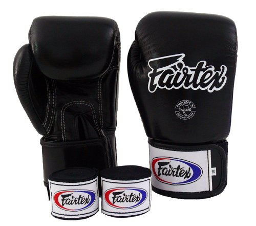 Fairtex Muay Thai - Boxing Gloves. BGV1 - Color: Classic Brown, Emerald, Black, White, Blue, Red. Size: 10 12 14 16 oz. Training, Sparring Gloves for Boxing, Kick Boxing, MMA (Black, 16 oz)