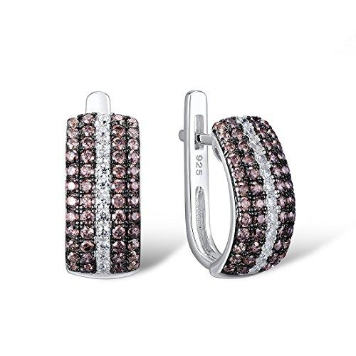 (Santuzza 925 Sterling Silver Brown CZ Earrings For Women Brown Cubic Zirconia Party Fine)