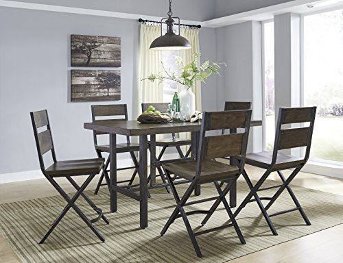 Kavara Medium Brown Color Rectangle Dining Room Counter Table W/6 Barstools