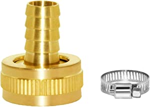 "Joywayus 1/2"" Barb x 3/4"" Female GHT Thread Swivel Brass Garden Water Hose Pipe Connector Copper Fitting with Stainless Clamp House/Boat/Lawn/Power Wash/Irrigation"