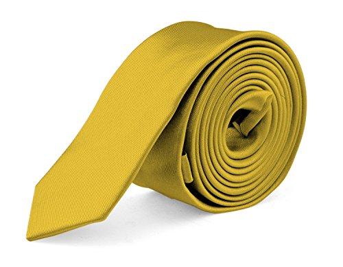 Moda Di Raza- Mens Slim Ties Skinny Necktie 2 inch Satin Finish Polyester Ties - Gold (Gold Necktie Polyester Satin)
