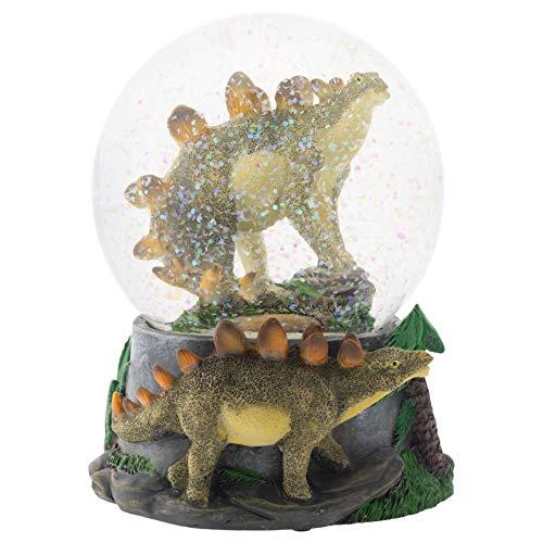 Elanze Designs Stegosaurus Dinosaur Friends 100MM Musical Water Globe Plays Tune Born Free