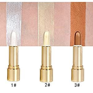 3 Colors Illuminator Makeup Sticks Ultimate Contour Highlight Liquid repair rods Face Eye Repair Foundation Whitening Shimmer Stick Powder Face Cheeks Nose Highlight Makeup Cover Perfection (3PCS)