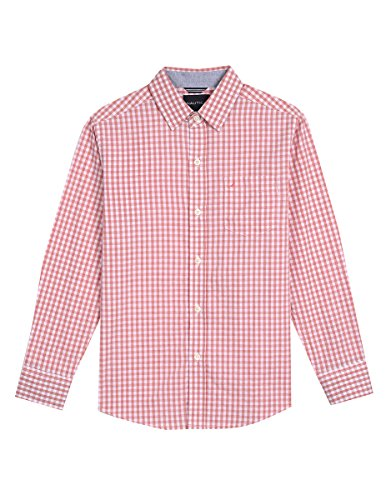 Nautica Toddler Boys' Long Sleeve Gingham Woven Shirt, Rios Dark Pink, 4T (Dark Pink Gingham)