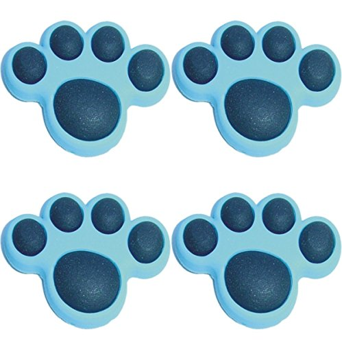 Paw Shoe Charm - Four (4) of Light Blue Paw Shoe Rubber Charms Jibbitz Croc Style