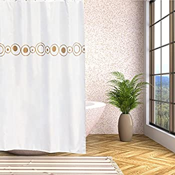Shower Curtain Mildew Resistant Polyester Fabric Water Repellent Anti Bacterial Neutral Design With 12 Hooks 708x788 Inches Gold Circle By IYaYoo