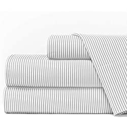 Egyptian Luxury 1600 Series Hotel Collection Pinstripe Pattern Bed Sheet Set - Deep Pockets, Wrinkle and Fade Resistant, Hypoallergenic Sheet and Pillowcase Set - King - Light Gray/White