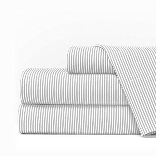 Egyptian Luxury 1600 Series Hotel Collection Pinstripe Pattern Bed Sheet Set - Deep Pockets, Wrinkle and Fade Resistant, Hypoallergenic Sheet and Pillowcase Set - King - Light Gray/White - Egyptian Cotton Stripes Bed Pillow