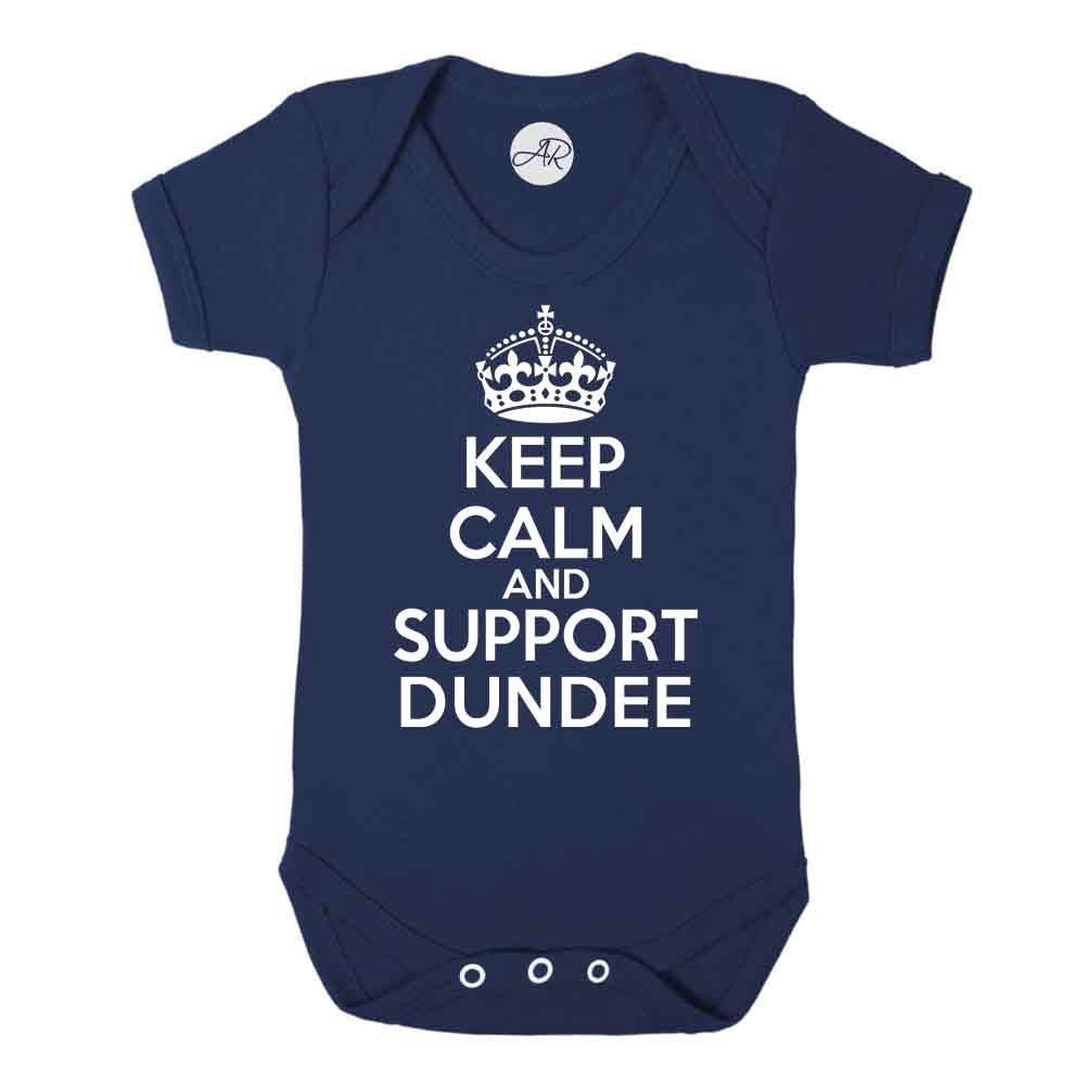 Keep Calm and Support Dundee fun Dundee FC football SPFL The Dark Blues supporter baby vest (6-12 Months) Doodleman