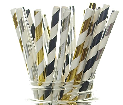 New Year's Eve Supplies, Black, Gold & Silver Party Straws - 25 Pack - New Year Party Supplies, Paper Drinking Straws, Ball Drop Countdown to 2017 New Year Party Decorations ()
