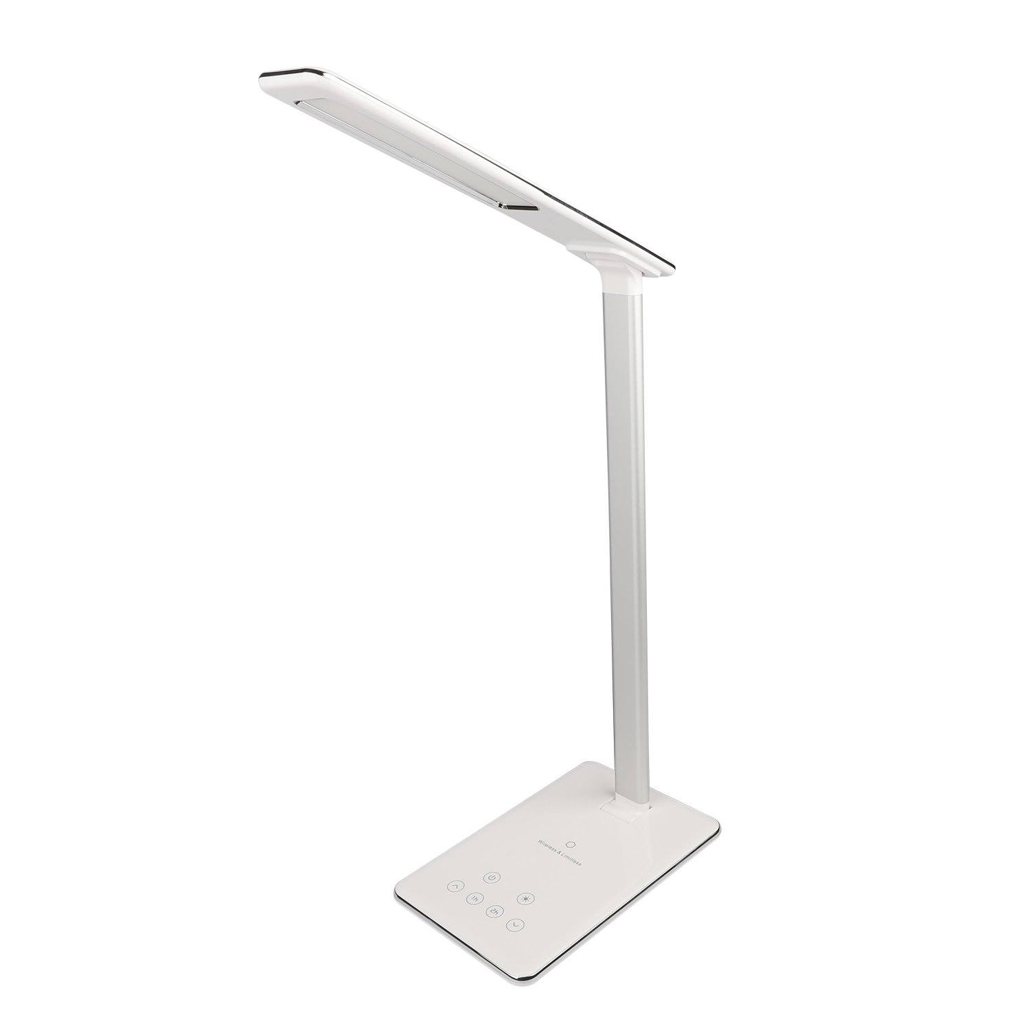 MACASA Led Desk Lamp Dimmable Table Lamp with Qi Wireless Charger for iPhone X / 8 Plus,4 Color Temperatures 6 Adjustable Brightness,Timer Setting,USB Charging Port,Touch Control& Memory Function