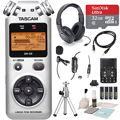 tascam-dr-05-version-2-portable-handheld-digital-audio-recorder-silver-with-platinum-accessory-bundl