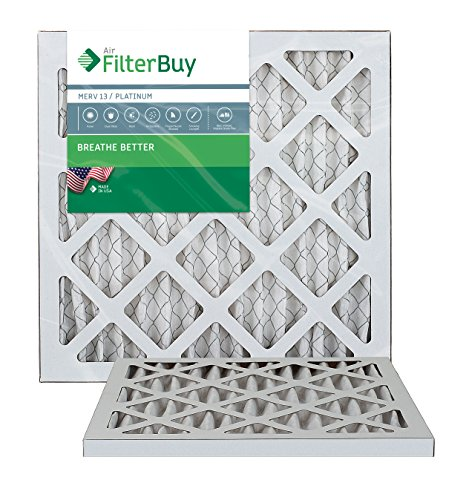FilterBuy 14x18x1 MERV 13 Pleated AC Furnace Air Filter, (Pack of 2 Filters), 14x18x1 – Platinum