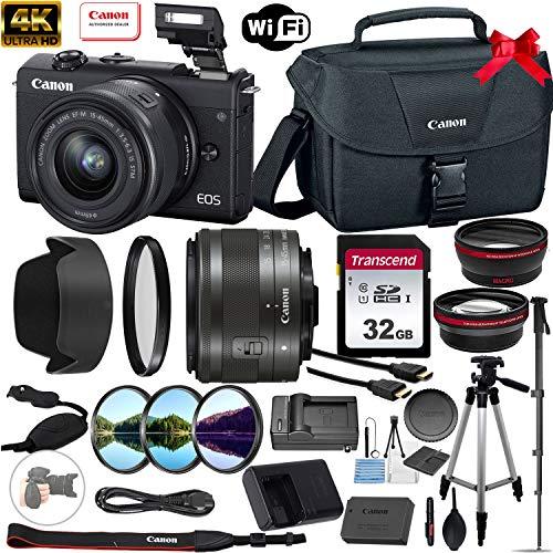 Canon EOS M200 Mirrorless Digital Camera 24.1MP 4K with 15-45mm Lens (Black) + Accessory Bundle: 32GB Memory Card, Canon EOS Shoulder Bag 100ES, Tripod, Monopod, Grip Strap & More