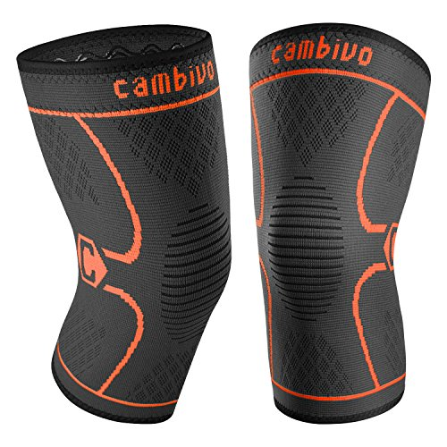 Cambivo 2 Pack Knee Brace, Knee Compression Sleeve Support for Running, Arthritis, ACL, Meniscus Tear, Sports, Joint Pain Relief and Injury Recovery (FDA Approved) (Medium, Black/Orange) by CAMBIVO