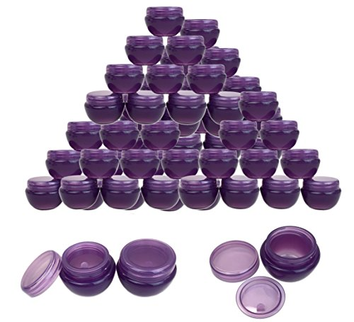 Beauticom 36 Pieces 10G 10ML Purple Frosted Container Jars with Inner Liner for Makeup, Creams, Cosmetic Beauty Product Samples – BPA Free
