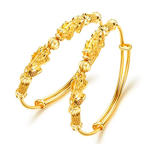 OPK 2 Pieces Yellow Gold Plated Pixiu Expandable Wire Bangle Bracelets Set for Bride Bridesmaids Jewelry